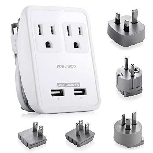 fc289a94f5802b [UL Listed] Poweradd World International Travel Adapter Kits – Dual Smart  USB Ports + 2 AC Outlets Wall Charger with ...
